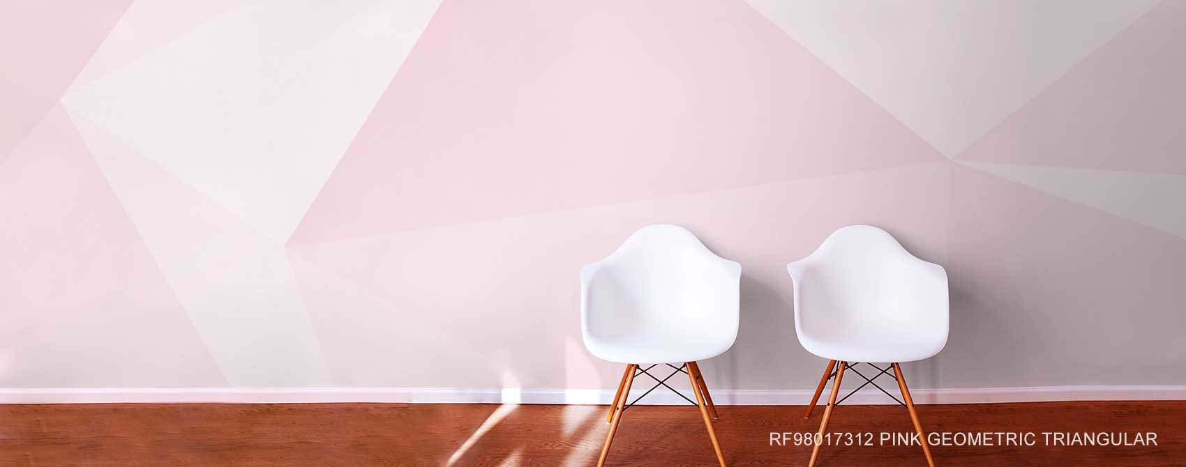 Pink Geometric Triangular Wall Mural