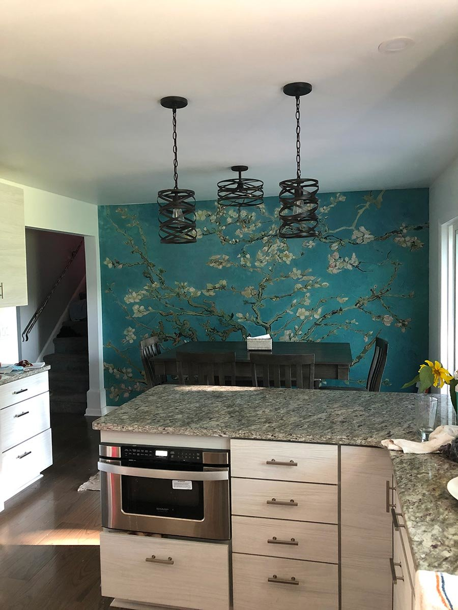 Almond Branches in Bloom wall mural in dining room