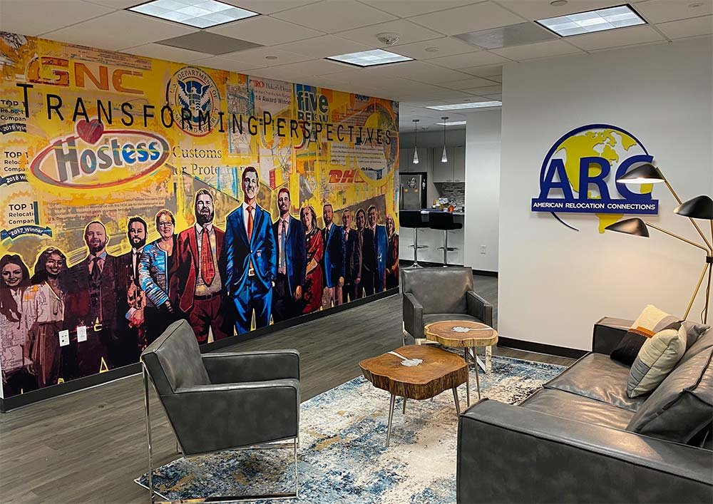 Office reception area with custom artwork wallpaper mural