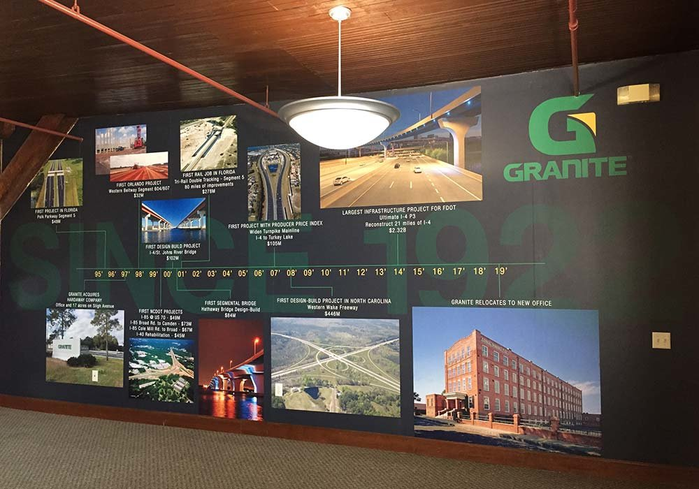 custom timeline wallpaper mural in Granite Construction office