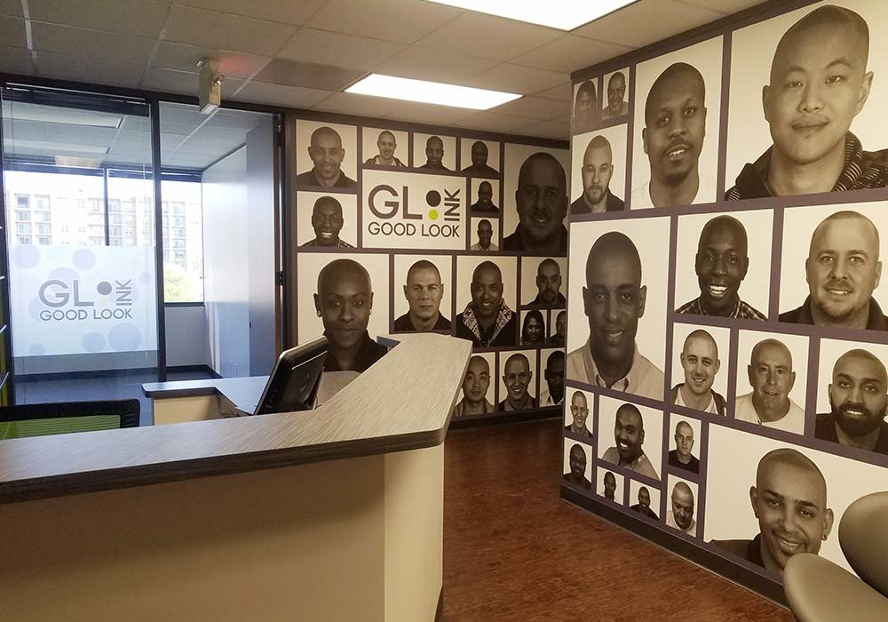 custom collage wallpaper mural in Good Look Ink office