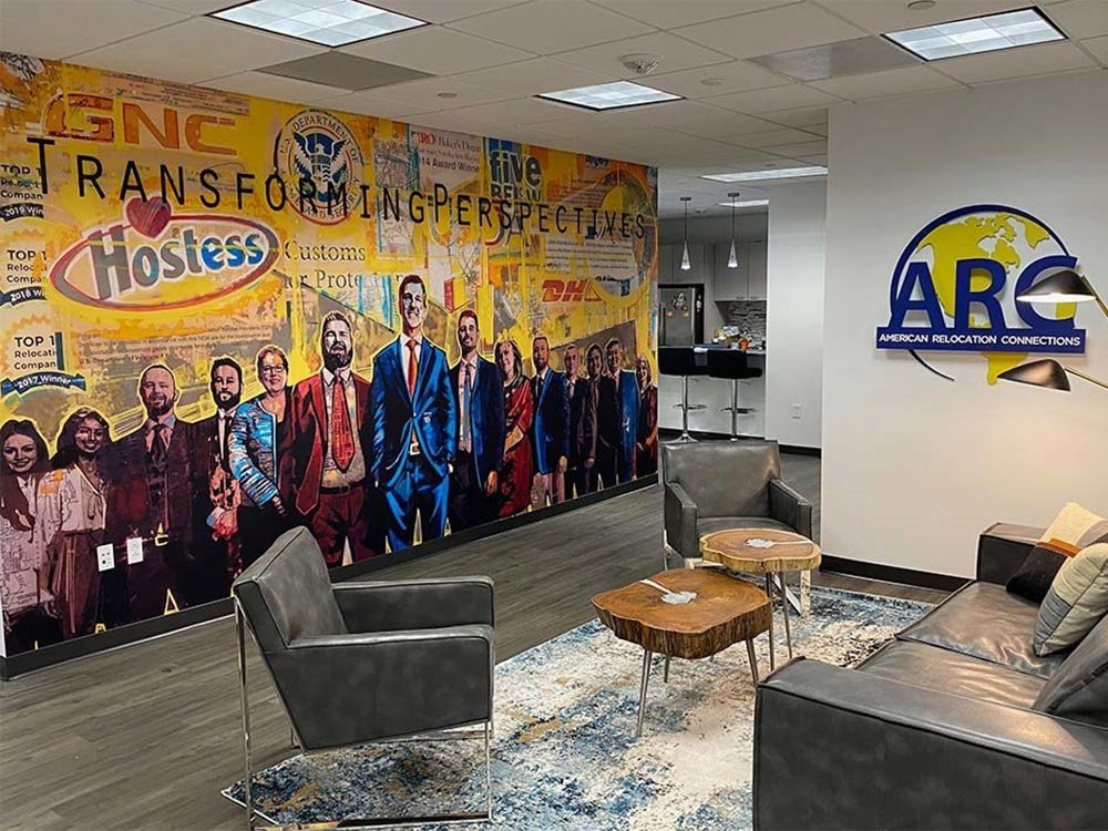 Custom wall mural in office reception area