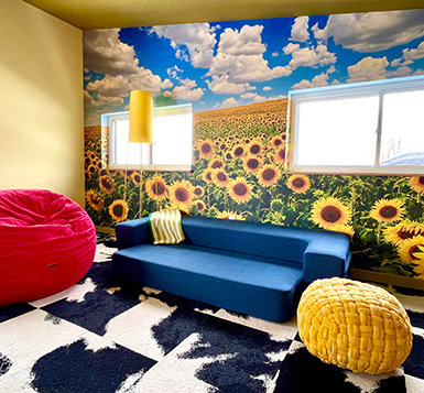 Field Of Blooming Sunflowers Wallpaper Mural in home