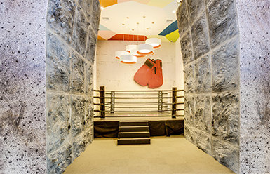 Yellow Boxing Gloves Wall Mural in gym
