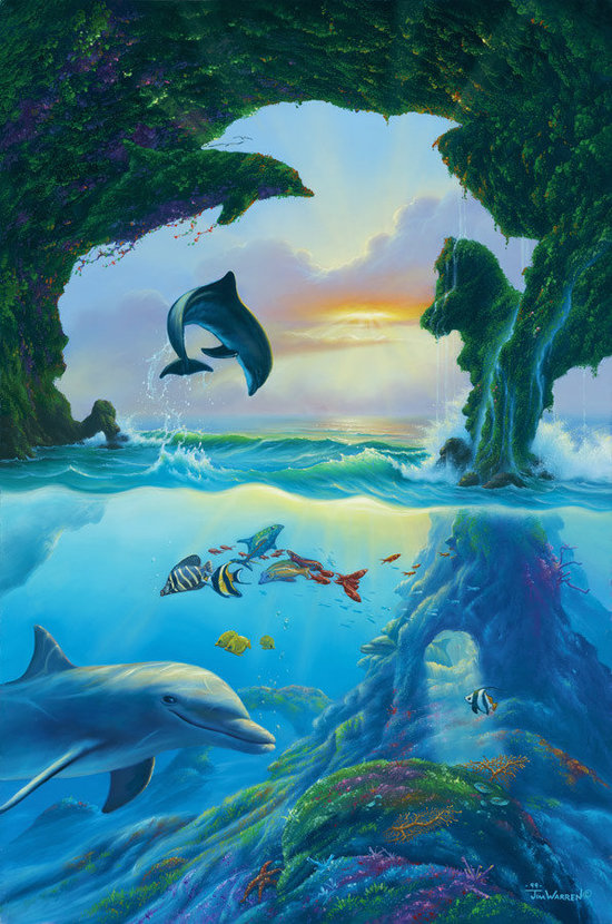 beautiful wallpaper mural by artist jim warren of a dolphin swimming in the sea near an underwater cave and ocean reef