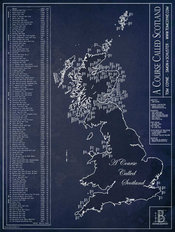 A Course Called Scotland Blueprint Wall Mural