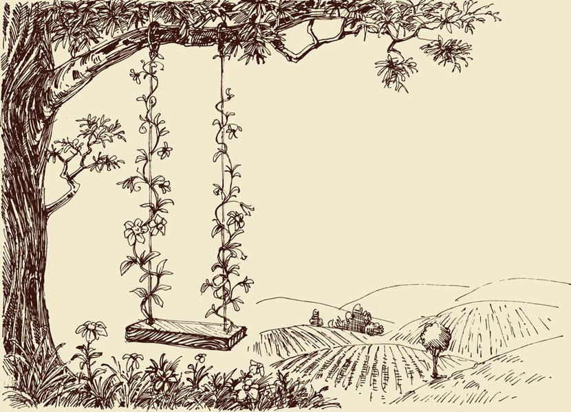 A Cute Swing In The Forest Drawing