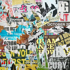 Torn Posters Collage Wall Mural