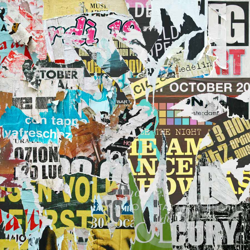 Colorful urban grunge collage of torn posters on a wall