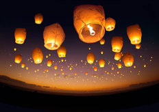 Chinese Flying Lanterns Mural Wallpaper
