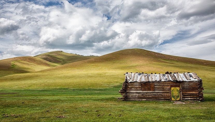 Abandoned Cabin in Mongolia Wall Mural