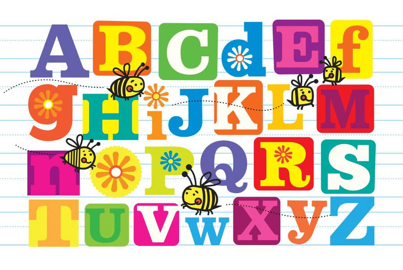 coloful image of the letters of the alphabet abcs with cute bees buzzing about among the letters of the alphabet