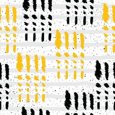 Abstract Black & Yellow Pattern Wallpaper