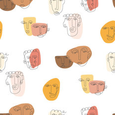 Abstract Face Drawing Pattern Wallpaper
