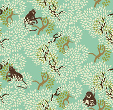 Monkeys And Trees Pattern Wallpaper
