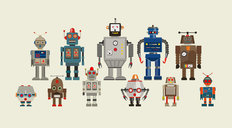 Abstract Robots Wallpaper Mural