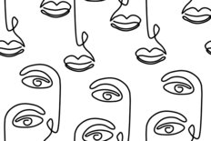 Abstract Seamless Face Line Art Pattern Wallpaper