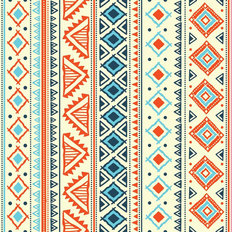 Orange Aqua Tribal Pattern Wallpaper