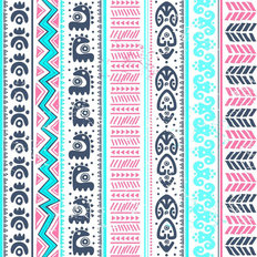 Pink Aqua Tribal Pattern Wallpaper