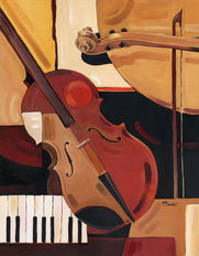 Abstract Violin Mural Wallpaper