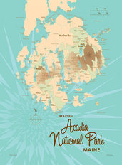Acadia National Park, ME Lake Map Wall Mural