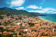Cefalu Residential District Near The Sea In Italy Mural Wallpaper