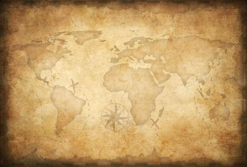 Aged World Map Wall Mural