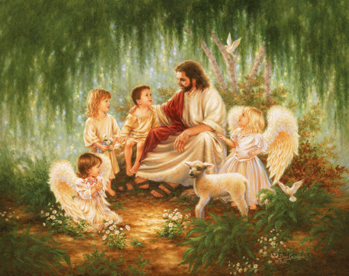 Jesus sits under a flowringe tree with two children, two young angels, a lamb and a peaceful dove