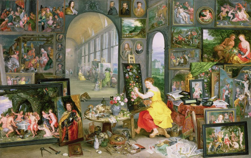 Allegory Of Painting Mural Wallpaper