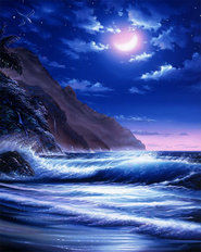 Aloha Moon Blue Wall Mural