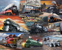 American Train Collage  Wallpaper Mural