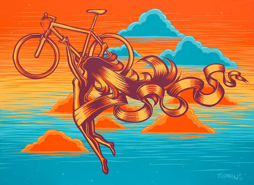 A beautiful angel with flowing hair flies through the orange-tinged sky with a bicycle in hand