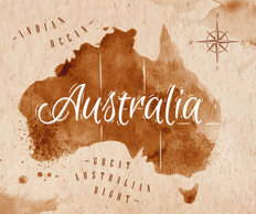 Antique Australia Map Wall Mural