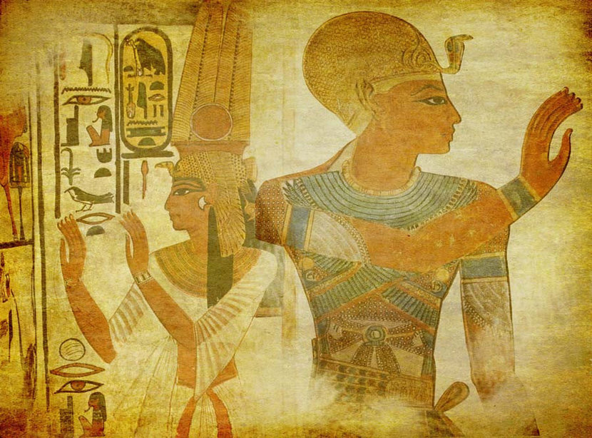 Hieroglyphics of Queen Nefertiti and a powerful pharaoh