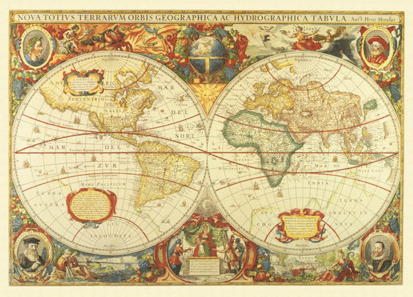 View larger image of EGI Antique World Map