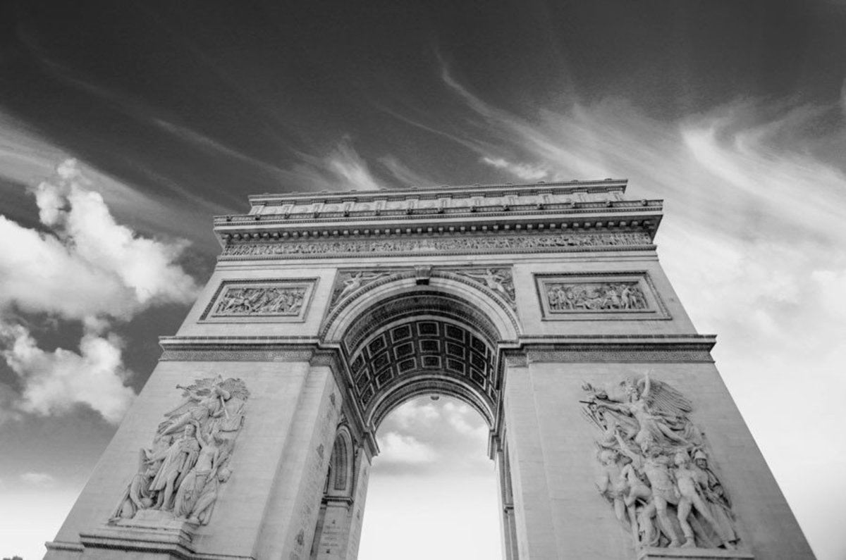 Arc de Triomphe architectural detail of the Parisian landmark in black and white