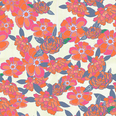 Arklow Orange Floral Pattern Mural Wallpaper