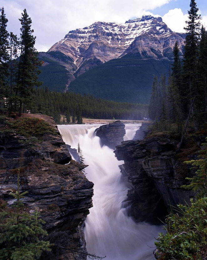 Athabasca Falls tourist attraction located in Jasper National Park, Alberta, Canada