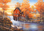 Autumn Sunset At The Old Mill Wallpaper Mural