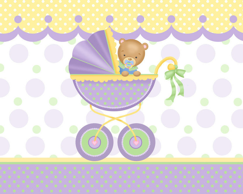Baby Carriage Mural Wallpaper