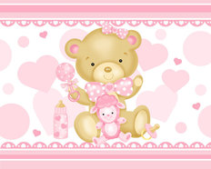 Baby Girl Bear Wall Mural