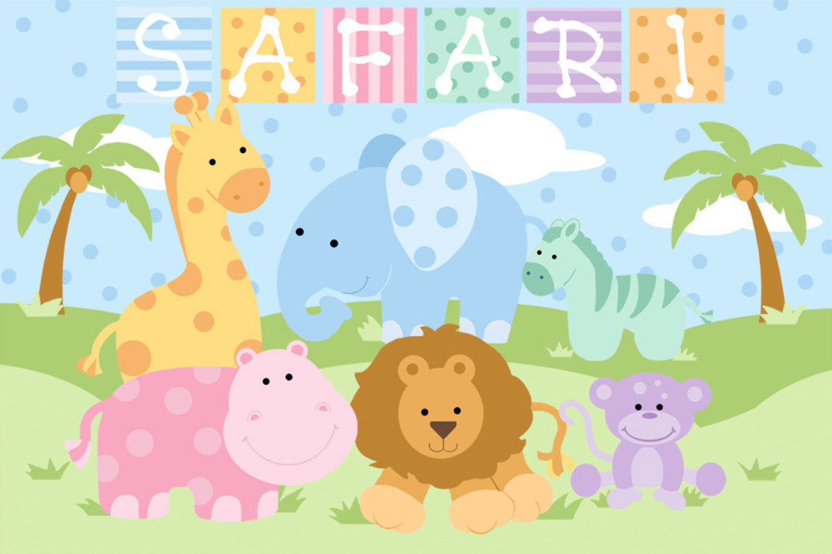Baby Safari - Girl Mural Wallpaper