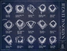 Ballparks Of The National League Blueprints Mural Wallpaper