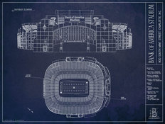 Bank of America Stadium Blueprint Mural Wallpaper