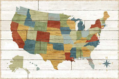 Barnboard US Map Wallpaper Mural