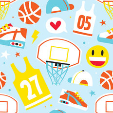 Basketball Illustration Pattern Wallpaper