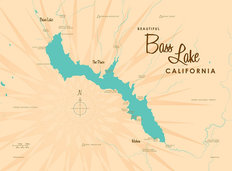 Bass Lake, CA Lake Map Wallpaper Mural