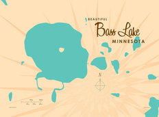 Bass Lake, MN Lake Map Mural Wallpaper
