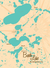 Battle Lake, MN Lake Map Wallpaper Mural