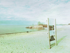 Beach Glass Swimming Rules, Lake Erie Mural Wallpaper